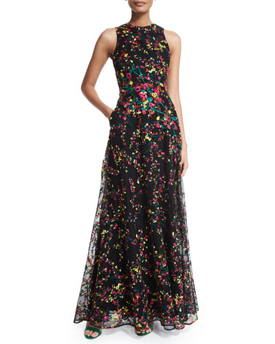 Floral-Embroidered Sleeveless Lace Gown