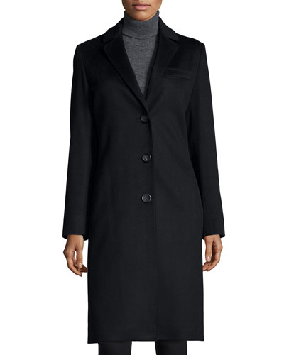 Cashmere Three-Button Top Coat, Black