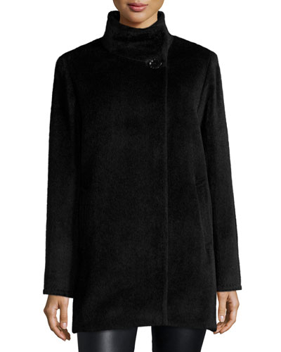 High-Neck Llama-Blend Coat, Black