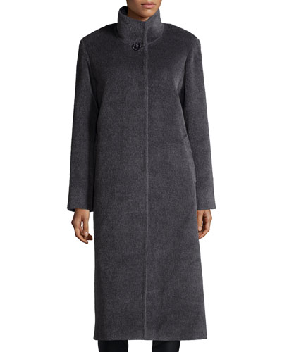 High-Neck Llama-Blend Long Coat, Charcoal