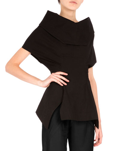 Structured Cowl-Neck Back-Zip Top, Black