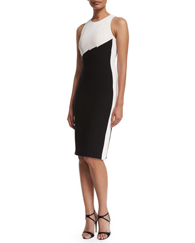 Sleeveless Bicolor Crepe Sheath Dress, Black/White