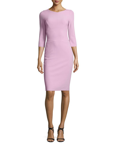 Scuba-Knit 3/4-Sleeve Sheath Dress, Lavender