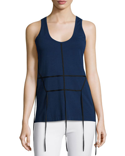 Tape-Effect Cotton-Jersey Tank Top, Navy/Black