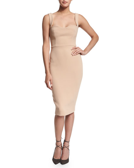 Fitted Matte Crepe Sheath Dress, Nude
