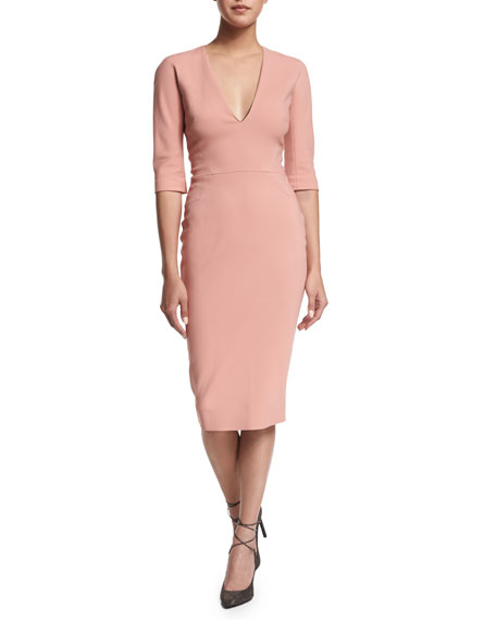 3/4-Sleeve V-Neck Sheath Dress, Blush