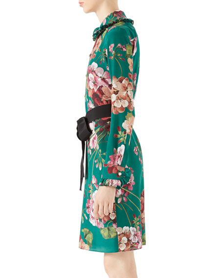 4edce350 Gucci Blooms Print Silk Shirt Dress