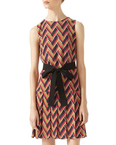 Chevron Print Pleated Dress