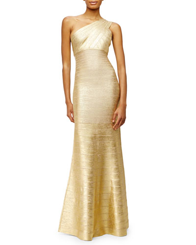 One-Shoulder Bandage-Knit Gown, Gold