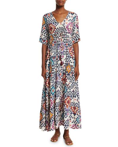 Half-Sleeve Diamond-Print Maxi Dress, Tahitian Kaleidoscope