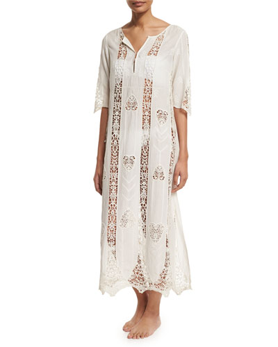 Crocheted Cotton Caftan Coverup, Indian Ivory