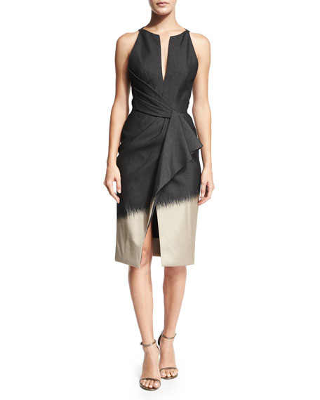 Pleated Jacquard Halter Dress, Black/Taupe