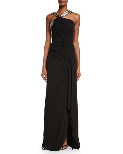 Asymmetric Pleated Jersey Halter Gown, Black