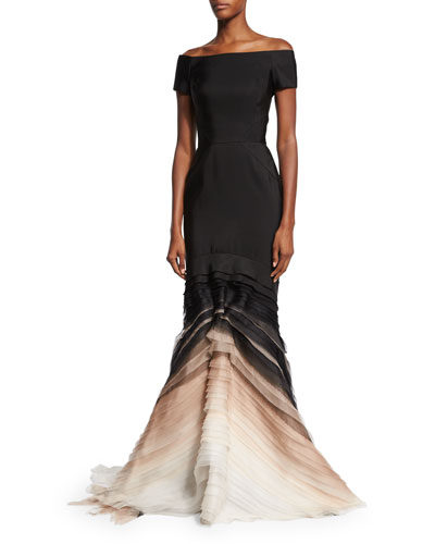 Off-the-Shoulder Silk Faille Degrade Gown, Black
