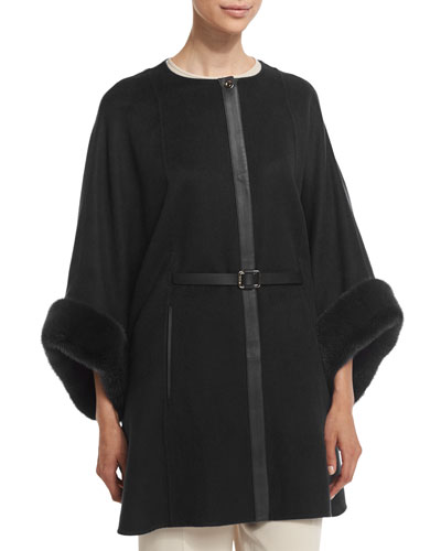 Margot Cashmere Cape with Mink Fur, Black