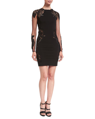Feather-Embellished Punto Mini Dress, Black