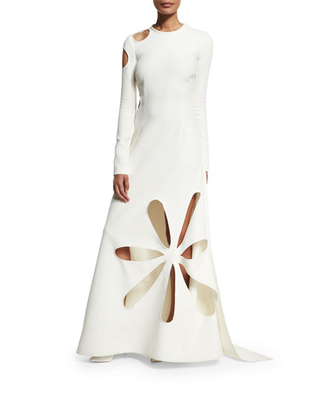 Matisse Cutout Stretch-Crepe Gown, White