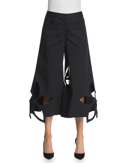 Stretch-Cotton Flower-Cutout Cropped Pants, Black
