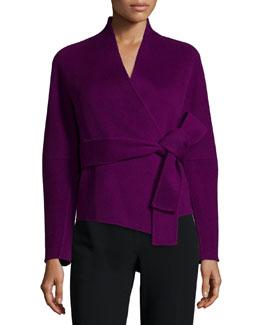 Belted Cashmere Wrap Jacket, Fuchsia
