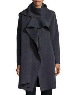 Double-Face Cashmere Scarf-Neck Jacket, Dark Gray
