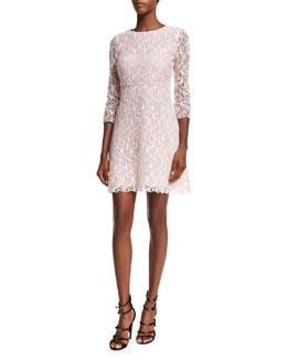 Macrame Lace A-Line Dress, Pink