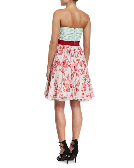 Ruched Silk Combo Cocktail Dress, Mint/Red