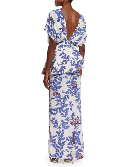 Short-Sleeve Lace-Front Floral Silk-Crepe Gown, Blue/Pink
