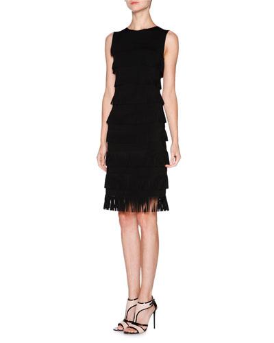 Sleeveless Layered-Fringe Dress, Black