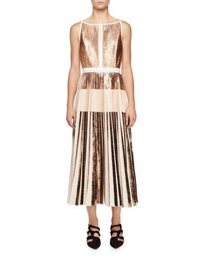 Sleeveless Cloque Pleated Midi Dress, Rose Golden/Nude