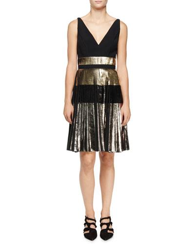 Sleeveless V-Neck Cloque Dress, Silver/Black