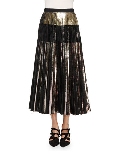 Lightweight Cloque Pleated Midi Skirt, Silver/Black