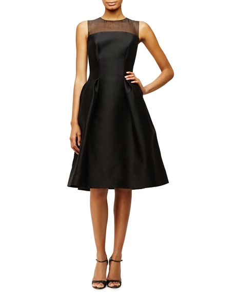 Sleeveless Sheer-Yoke Cocktail Dress, Black