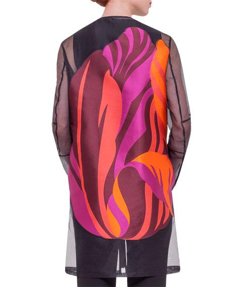 Long-Sleeve Floral-Back Jacket, Schwarz/Multi Colors