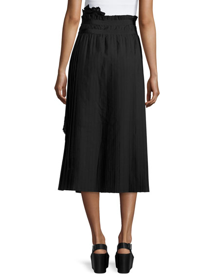 bda38f40c9 SACAI Asymmetric Pleated Lace Combo Midi Skirt, Black