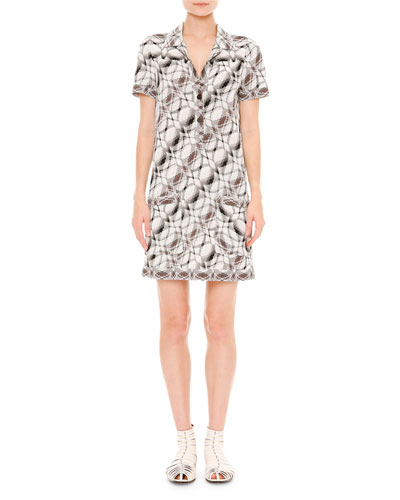 Stereo Knit Short-Sleeve Shirtdress, Black/White/Brown