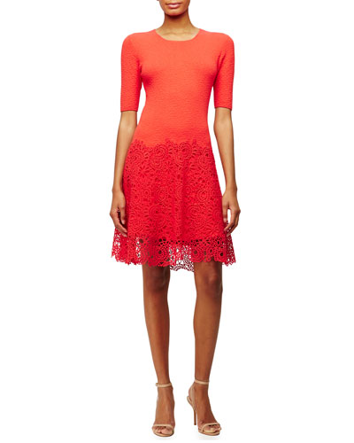 Half-Sleeve Lace-Hem Dress, Red