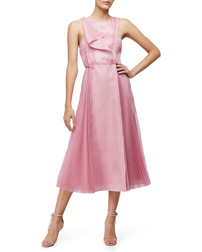 Sleeveless Fit-&-Flare Dress, Dusty Rose
