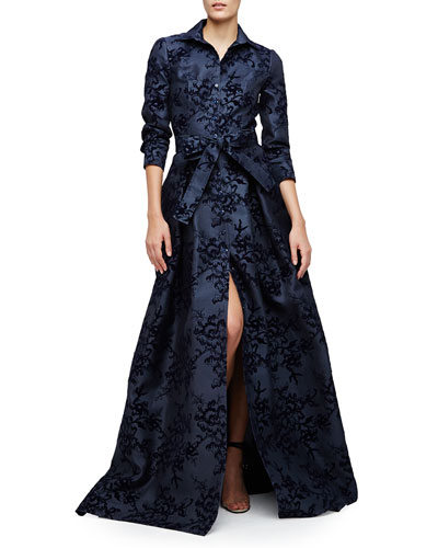 Floral-Flocked Trenchcoat Gown, Navy Slate