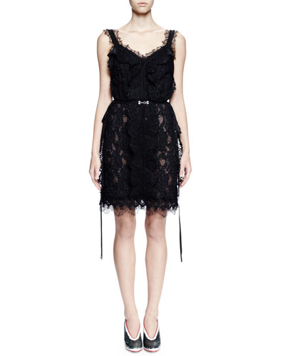 Sleeveless V-Neck Lace Cocktail Dress, Black