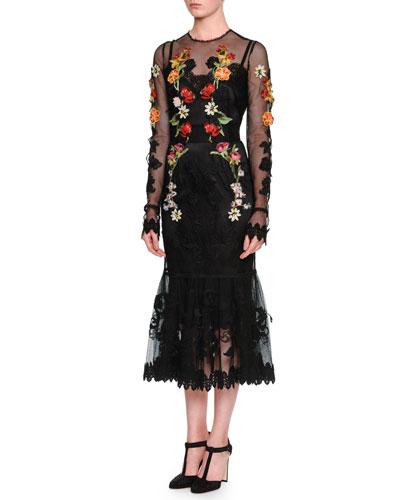 Long-Sleeve Floral-Embroidered Peplum Dress, Black