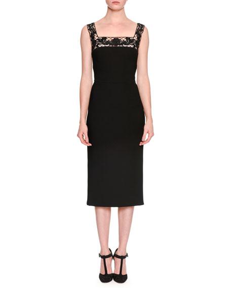 Sleeveless Square-Neck Guipure Lace Dress, Black