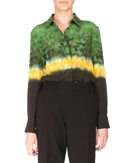 Long-Sleeve Tie-Dye Silk Blouse, Ceramic Green