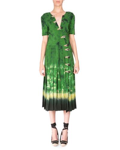 Half-Sleeve Asymmetric-Button Tie-Dye Dress, Ceramic Green
