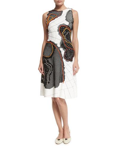 Sleeveless Stitch-Contrast Crepe Dress, White (Bianco)