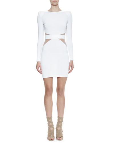 Long-Sleeve Sheer-Trim Dress, White