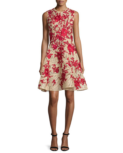 Sleeveless Embroidered Raffia Dress, Natural/Red