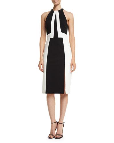 Sleeveless Racer-Fit Colorblock Dress, Black/White