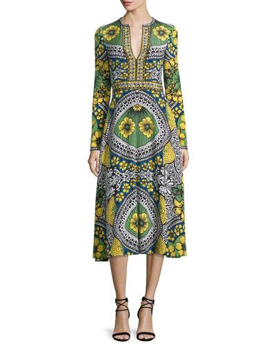 Long-Sleeve Multi-Print Day Dress, Celadon