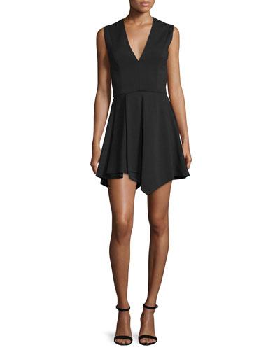 Sleeveless V-Neck Origami Dress, Black