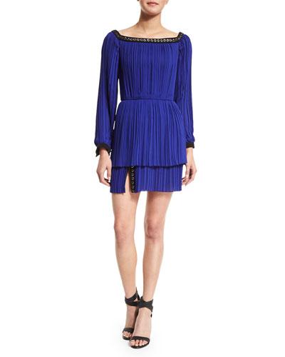Long-Sleeve Pleated Chiffon Dress, Lapis
